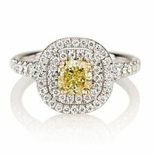 GIA Certified - 0.75Ct Fancy Vivid Yellow Diamond Engagement Ring , Platinum