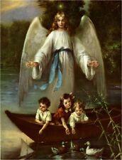 VINTAGE GUARDIAN ANGEL CHILDREN LAKE BOAT DUCKS RELIGIOUS CANVAS ART PRINT