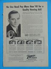 VINTAGE ORIGINAL PAPER PRINT ADVERTISEMENT 1944 ZENITH HEARING AID - WWII