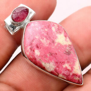 Pink Thulite and Pink Tourmaline Rough 925 Silver Pendant Jewelry E389