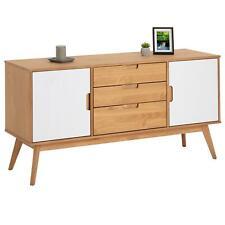 Buffet commode style scandinave 3 tiroirs 2 portes pin massif bois teinté/blanc