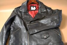 #160 TOPMAN Black Leather Biker Jacket Size XL  MADE IN INDIA