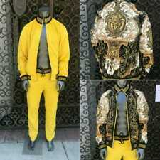 Men's Yellow Velour Fashion Reversible Tracksuit (Runs Very Small)