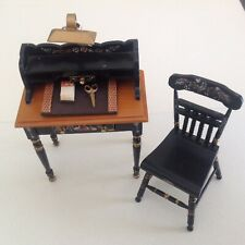 Dollhouse miniature black desk & chair. 1:12 scale DESK BLOTTER by Pat Tyler '96