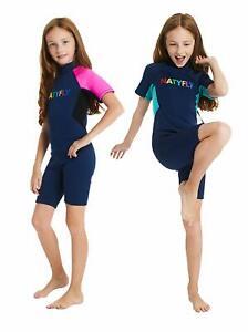 NATYFLY Youth Premium 2mm Neoprene Short Sleeve Shorty Wetsuit, Navy/Teal, 2XL