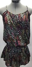 Forever 21 Satin Tunic Tank Top Size Small S Floral Abstract Tie Neck Shirt
