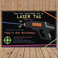 Personalised DIGITAL LASER TAG Kids Birthday Invitations YOU PRINT