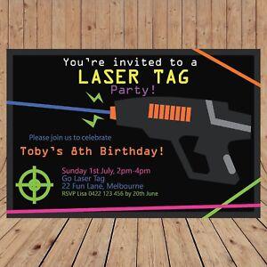 Personalised DIGITAL LASER TAG Kids Birthday Invitations YOU PRINT