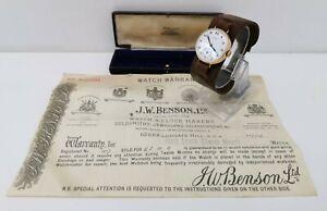 Vtg 1934 JW Benson 9ct Solid Gold Gents Trench Watch & Orig Box, Warranty Paper