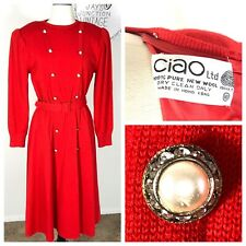Vtg 80's Red Wool Structured Pleated Shoulder Dress W/ Pearl Rhinestone Buttons