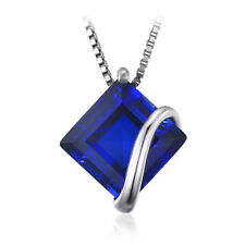 Modern 3.3ct Blue Sapphire Pendant Necklace Solid Sterling Silver Special Gift