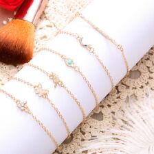 6Pcs/Set Butterfly Evil Eye Bracelet Leaf Charm Pendant Bangle For Women Jewelry