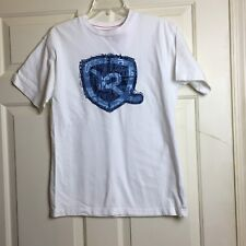Roca Wear Mens Boys White Short Sleeve T Shirt with Blue Symbol on Front-Size M