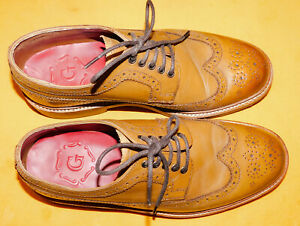 GRENSON ARCHIE TAN COLOR WING TIP LACE UP LEATHER SHOES SIZE UK 6G/US 7.