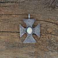 Natural Fire Opal Handmade Necklace 925 Sterling Silver Fine Cross Pendant OD106