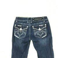 LA Idol USA Women Jeans Capri Size 0 Stretch Bling Pockets Flap Pockets 11-4