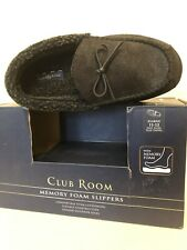 Club Room Men's Memory Foam Faux Sherpa Lined Moccasins Slippers Size XL 11-12