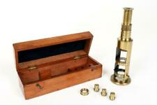Vintage ~ c1900 ~ Brass Drum Microscope with Case                          #1035