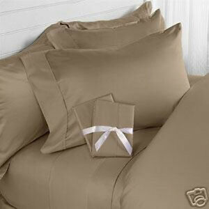 Queen Taupe Solid 4 Pieces Bed Sheet Set 1000 Thread Count 100% Egyption Cotton