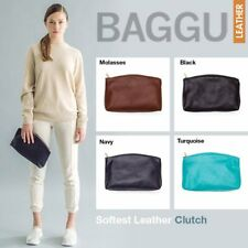 BAGGU HANDMADE LEATHER 3D CLUTCH NATURAL MILLED LEATHER BRASS ZIPPER MOLASSES L