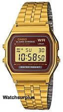 Casio A159WGEA-5 Men's Vintage Gold Tone Chrongoraph Alarm LCD Digital Watch