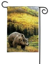 """GRIZZLY BEAR in Mountains Autumn Fall 12.5"""" x 18"""" Small Decorative Banner Flag"""