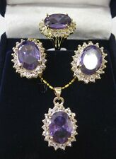 Faceted Russican Amethyst pendant necklace earrings ring set