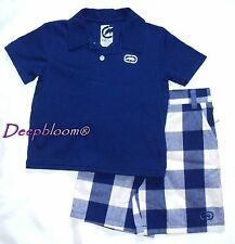 ECKO OUTFIT SET POLO SHIRT SHORT PANTS BOYS 12 M BLUE NEW $48