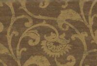 Wallpaper Designer Metallic Gold Floral Scroll on Brown Faux