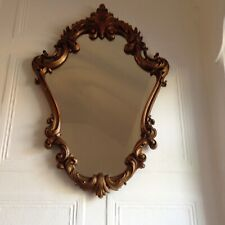 VINTAGE ROCOCO MIRROR WITH GOLD LEAF/GILDED/BRASS EFFECT FINISH BEAUTIFUL & RARE