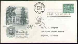 US. 1037. 4 1/2c. The Hermitage. Artmaster FDC. 1959