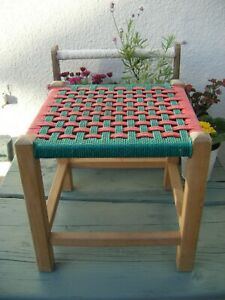 Rare Vintage Woven Rattan / String Wooden Stool - Pink & Green