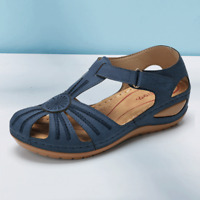 Women Slip On Comfy Wedges Sandals Summer Casual Ladies Sliders Shoes Leather