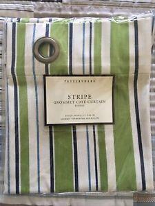 Pottery Barn Rideau Stripe Grommet Cafe Curtain 44 X 26 ** NEW **