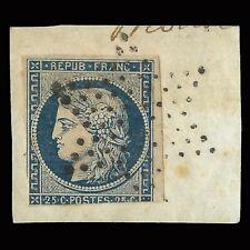 Stamp France.1850.Ceres.25c Blue yeish.Yvert 4A. Scott 6B STAR Cancel.Fargment.