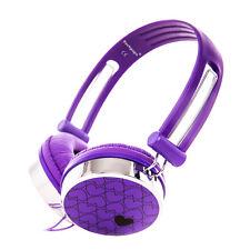 Boys Girls Kids Childs Rockpapa Over Ear Love Hearts DJ Stereo Headphones Purple