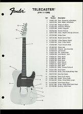 Rare Factory Fender 11-1300 Telecaster Guitar Dealer Sheet With Parts List