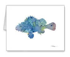 Blue Cod Fish Note Cards With Envelopes