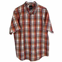 Prana Button Front Shirt Men's XL Orange Gray Black Brown Short Sleeve Cotton