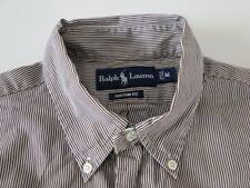 Ralph Lauren Custom Fit Herren Hemd Langarm Weiß/Braun Gestreift Gr. M / 15