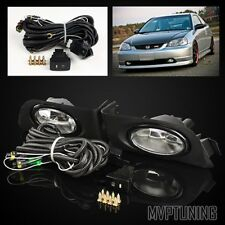 For 01-03 Honda Civic 2/4 Door Clear Fog Lights Driving Lamps Assembly + Switch