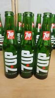 7 Up Glass Soda Bottles Vintage 1960- 1970's  Vertical 7 Up ACL 10 Oz  Lot of 3