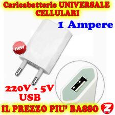A USB ADATTATORE 220V PRESA MURO SPINA CARICATORE CARICABATTERIE CELLULARI MP3 e