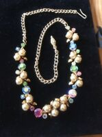 Vintage 1950s Deco Multi Colour Pastel Diamante Rhinestone & Pearl Necklace