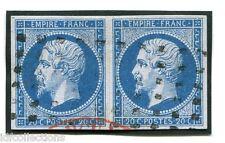 France Napoléon N°14A oblitéré roulette de points carrés en paire horizontale
