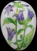"""Chamart Limoges France Hand Painted Purple Floral Egg Jewelry Trinket Box 4-3/4"""""""