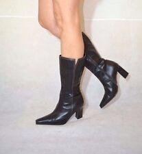 Women Black Mid Calf Boots Elegant Leather Stitches Triangle Heel Next Size 5.5