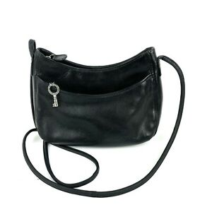 Fossil Crossbody Bag Black Leather SMALL Vintage Key Charm Shoulder Purse