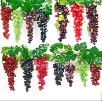 Lifelike Artificial Grapes Bunches Plastic Fake Fruit Rattan Home Garden Decor