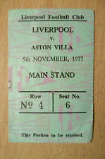 Tickets/ Stubs- 1977 LIVERPOOL v ASTON VILLA, 5th November (Main stand)